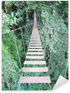 Sticker Pixerstick Pont de corde sur l'arbre de haute futaie, Chiang Mai, Thaïlande