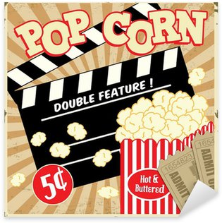 Sticker Pixerstick Popcorn avec clap et des billets de cinéma affiche vintage