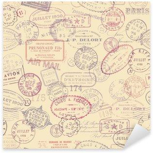 Pixerstick Sticker Port thema achtergrond met vintage stempels (tegelwerk)