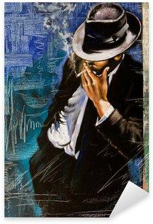 Pixerstick Sticker Portret van de man met een sigaret