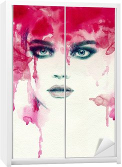 Sticker pour Armoire Belle femme. illustration d'aquarelle