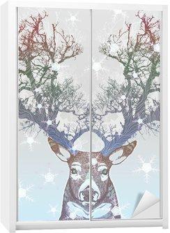Sticker pour Armoire Corne Frozen arbre cerf