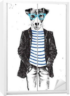 Sticker pour Armoire Hand Drawn habillé chien dans le style hipster
