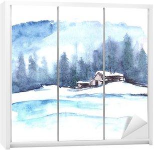 Sticker pour Armoire Motif d'hiver Aquarelle. Paysage de campagne. La photo montre une maison, l'épinette, le pin, la forêt, la neige et les dérives.