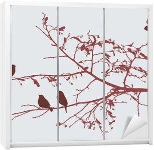 Sticker pour Armoire Oiseaux au printemps