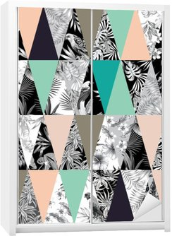Sticker pour Armoire Patchwork tropical seamless background