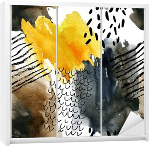 Sticker pour Armoire Résumé aquarelle seamless aux couleurs d'automne.