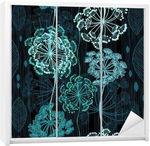 Sticker pour Armoire Seamless de fleurs abstraites. backgrou floral dessiné à la main