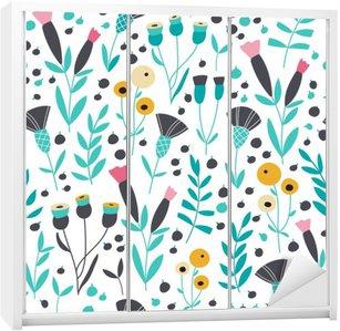 Sticker pour Armoire Seamless lumineux motif floral scandinave