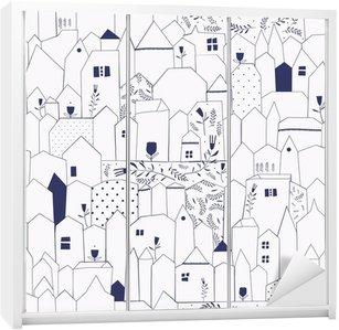 Sticker pour Armoire Seamless pattern. Figure villes de style vintage.