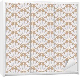 Sticker pour Armoire Seamless vector beige motif floral oriental