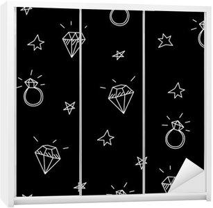 Sticker pour Armoire Vector seamless pattern avec des anneaux de mariage, des étoiles et des bijoux. éléments de tatouage old school. style Hipster