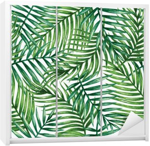 Sticker pour Armoire Watercolor tropical palm leaves seamless pattern. Vector illustration.