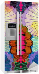 Sticker pour Frigo Aquarelle éléments abstraits multicolores