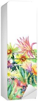 Sticker pour Frigo Aquarelle floraison cactus fond