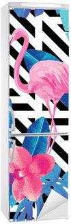 Sticker pour Frigo Flamingo et orchidées modèle, fond géométrique