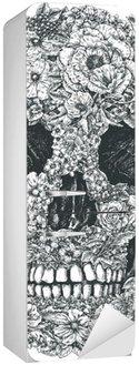 Sticker pour Frigo Fleur Vecteur de crâne