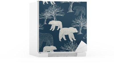 Sticker pour Frigo Fond de fête de Noël et du Nouvel An, le papier d'emballage bleu