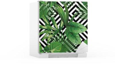 Sticker pour Frigo Paume tropical feuilles modèle, fond géométrique