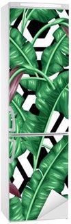Sticker pour Frigo Seamless avec des feuilles de bananier. Image décorative de feuillage tropical, fleurs et fruits. Contexte faite sans masque d'écrêtage. Facile à utiliser pour toile de fond, le textile, le papier d'emballage