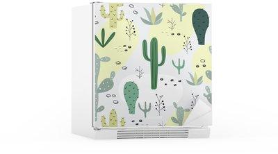 Sticker pour Frigo Seamless avec succulentes.