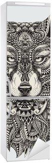 Sticker pour Frigo Très résumé détaillé loup illustration