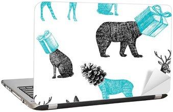 Sticker pour Ordinateur Portable Animaux d'hiver dessinés à la main fond transparent