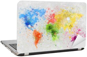 Sticker pour Ordinateur Portable Carte du monde peinture