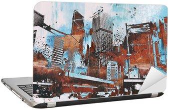 Sticker pour Ordinateur Portable Gratte-ciel avec grunge abstraite, illustration peinture