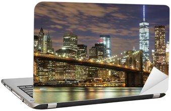 Sticker pour Ordinateur Portable Pont de Brooklyn et Downtown Gratte-ciel à New York au crépuscule