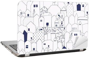 Sticker pour Ordinateur Portable Seamless pattern. Figure villes de style vintage.