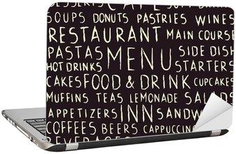 Sticker pour Ordinateur Portable Seamless pattern Restaurant manuscrite liés sur le tableau noir
