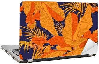 Sticker pour Ordinateur Portable Trendy tissu tropical seamless, paume feuilles rouges sur fond bleu marine, illustration vectorielle