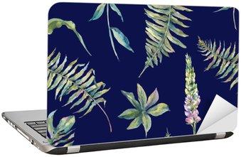 Sticker pour Ordinateur Portable Tropical feuilles aquarelle seamless