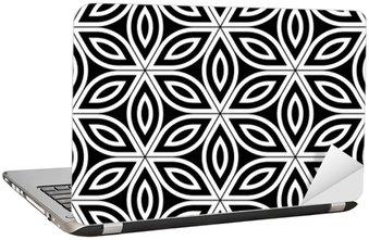 Sticker pour Ordinateur Portable Vector moderne seamless sacré de la géométrie, noir et blanc fleur abstraite géométrique de vie fond, papier peint impression, monochrome rétro texture, design de mode hipster