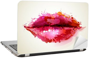 Sticker pour Ordinateur Portable Womans belles lèvres formées par des taches abstraites