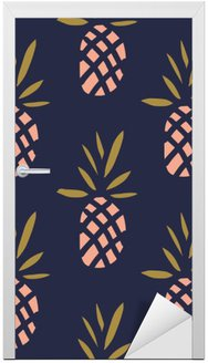 Sticker pour Porte Ananas sur le fond sombre. Vector seamless pattern avec des fruits tropicaux.