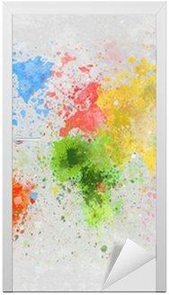 Sticker pour Porte Carte du monde peinture