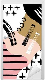 Sticker pour Porte Composition abstraite scandinave en noir, blanc et rose pastel.