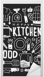 Sticker pour Porte Cuisine éléments doodles main ligne tracée icône, eps10
