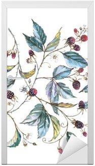 Sticker pour Porte Hand-drawn aquarelle seamless ornament avec des motifs naturels: branches mûres, les feuilles et les baies. illustration décorative répétée, frontière avec les baies et les feuilles