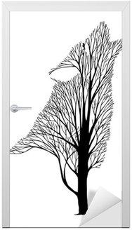 Sticker pour Porte Hurlement du loup mélange arbre dessin tatouage vecteur