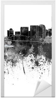 Sticker pour Porte Nashville skyline à l'aquarelle noir sur fond blanc