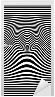 Sticker pour Porte Op art abstrait motif géométrique noir et blanc illustration vectorielle