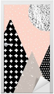 Sticker pour Porte Paysage abstrait géométrique