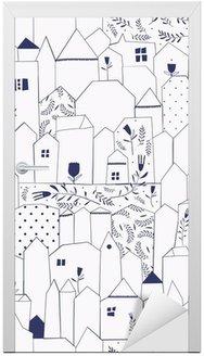 Sticker pour Porte Seamless pattern. Figure villes de style vintage.