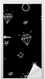 Sticker pour Porte Vector seamless pattern avec des anneaux de mariage, des étoiles et des bijoux. éléments de tatouage old school. style Hipster