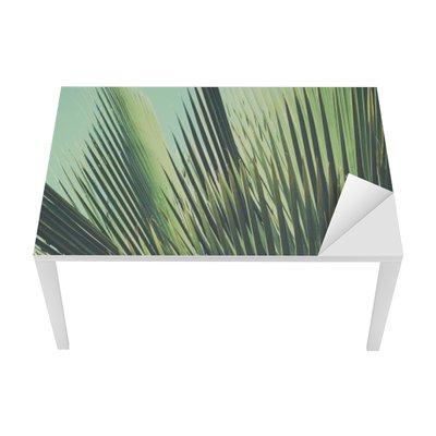 Sticker pour Table et Bureau Abstract vintage background tropical. Feuilles de palmier dans la lumière du soleil.