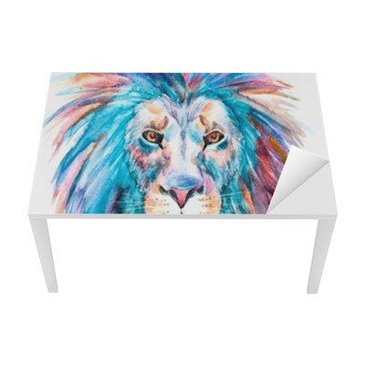 Sticker pour Table et Bureau Aquarelle vecteur lion