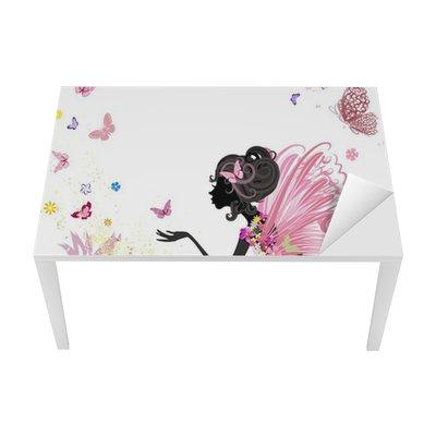 Sticker pour Table et Bureau Fée Fleur dans l'environnement de papillons